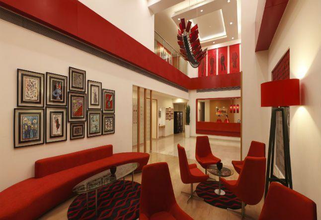 lobby at red fox hotel delhi airport